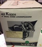 "NOS set of 2 car speakers- Infinity- Kappa 42 -4"" Dual Cone Old School New RARE"
