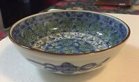 Vintage Bowl Juzan Gama Floral with Blue Bows On Side Japan Signed Brown Rim
