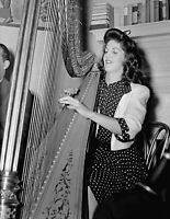 "1930 Adele Girard Playing the Harp, DC Vintage Old Photo 8.5"" x 11"" Reprint"