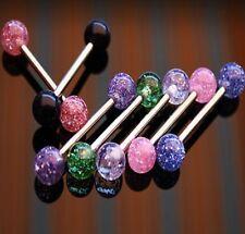 7er Set Zungen Piercing UV Glitter Ball HBL2-1416-X