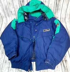 Triple FAT Goose Down-Filled Jacket/Coat Hooded Full Zip Navy sz. 16/18