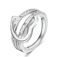 *UK* 925 silver Pltd ladies heart Crystal fashion Size N ring Jewellery 3003