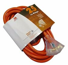 25-Foot Triple Tap 10 Gauge Extension Cord Lit Ends NEW 10/3 25 Ft Feet