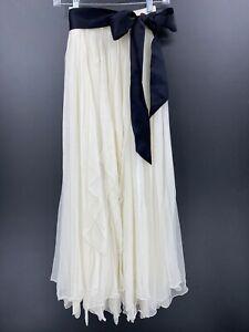 Vintage Eavis & Brown Sz Small Skirt Ivory Silk Asymmetric Hem Layered Belted