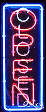 """New """"Open"""" & """"Closed"""" Vertical 32x13 Border Real Neon Sign w/Customoptions 11012"""