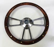 """Bronco F100 F150 F250 F350 Mahogany w/rivets Billet Steering Wheel Ford Cap 14"""""""