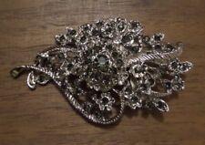 Beautiful Silver Toned Gray Rhinestone Flower Bunch Brooch Pin