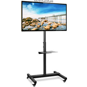 Tall Mobile TV Stand Wheels Adjustable Height for 32-70 Inch Flat Screen TVs