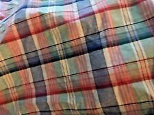 RALPH LAUREN Linen & Cotton TARTAN MADRAS pink Reef 13 YDS UPHOLSTERY  Fabric