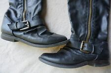 TARGET BLACK  Faux LEATHER Tall BOOTS With Buckle on Side Sz 5 1/2 5.5 / PERFECT