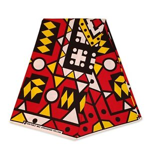 African fabric RED SAMAKAKA ANGOLA Wax print cloth (Traditional Samacaca)