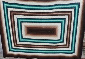Vintage 70s Afghan Crochet Knit Granny Throw Blanket Handmade 61x78