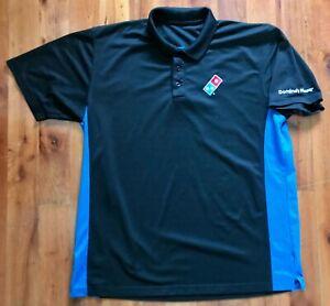 Dominos Pizza Polo Shirt Uniform Men's XL Black Blue