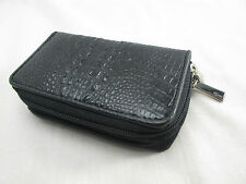 Genuine Crocodile Skin Keychains Key Holder Ring Zip Wallet Black + Free Ship
