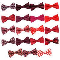 DQT Red Mens Bow Tie Solid Plain Plaid Patterned Floral Paisley Polka Dot Tartan