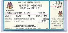"JEFFREY OSBORNE & REGINA BELLE. LAS VEGAS HILTON. 3"" X 6"" SHOW TICKET. 9/4/1998."