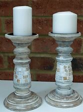 Pair Wooden Carved Candle Stick Holder Vintage Pearl Mosaic Chic 23cm Shabby New