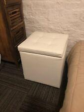 12x12x13.5 Inch Cube Folding Storage, Faux Leather Ottoman Box Stool, Foot Rest