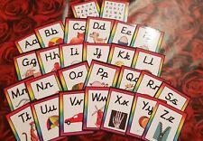 CURSIVE Alphabet Flash Cards -  lower case + capitals Picture + Phonics sounds