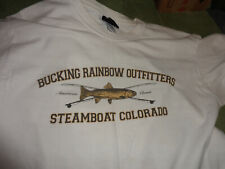 large white tee-shirt,bucking rainbow outfitters,steamboat colorado