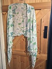 """New Butterfly Scarf. White & Green Very Pretty 72"""" X 28"""" Approx Touch Of Teal"""