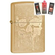 Zippo 29401 Dripping Skull Gold Dust Lighter + FUEL FLINT & WICK GIFT SET