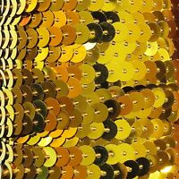 """Metallic Yellow Gold Sequin Trim 6mm 1/4"""" wide stitched, strung by the yard 15'"""