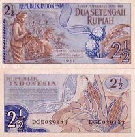 Indonesia- Indonesia billete nuevo de 2 1/2 rupia pick 79 UNC