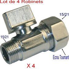 4 Robinets d'Arrêt Laiton,1/2, Droit, Mâle Femelle,15/21,Toilette,WC,Chasse Eau