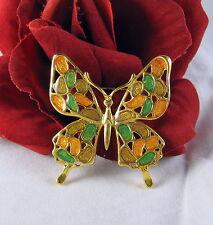 Vintage Colorful Enamel Gold toen Butterfly  Pin Brooch CAT RESCUE