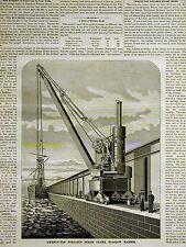 Henderson Bros. Glasgow 20 TON PORTABLE STEAM CRANE 1882 Art Mat w Full Story