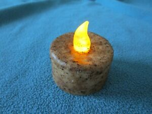 Primitive Timer Votive Candle Burnt Ivory Rustic Battery Operated Flicker NEW