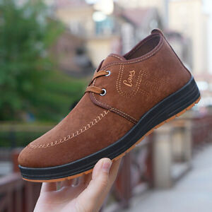 Mens Business Faux Suede Lace Up Shoes Casual Driving Round Toe Loafer