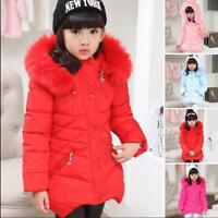 New Winter Kids Child Thick Jacket Coat Girls Cotton Padded Hooded Fur Outerwear