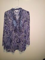 Charter Club Women's Blouse Size 20W Semi Sheer Paisley V-Neck sequence