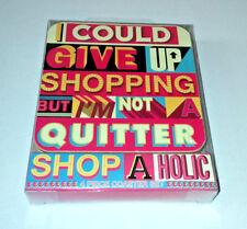 Shopaholic 4 SQUARE COASTERS SET Cork back RETRO 3D TEXT  LETTERING Fun Gift
