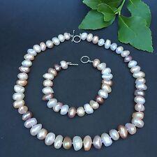 100% freshwater 12-14mm multi-purple Baroque pearl necklace & Bracelet AA luster