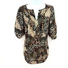 Angie Short Sleeve Blouse Top Shirt Womens Sz L Black Beige Decorative Buttons