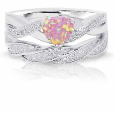 Infinity Celtic Pink Fire Opal Heart Engagement Wedding Ring Set Sterling Silver