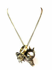 COOL UNISEX BRONZE NECKLACE RINGS BRAND NEW SKULL COOL PUNK UNIQUE (ST97)