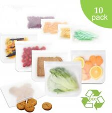 10 pcs kitchen bags reusable silicone zip lock food freezer storage eco bag pack