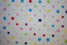 Multicolor Stars Poplin Print #33 Cotton Lycra Spandex Stretch Woven Fabric BTY