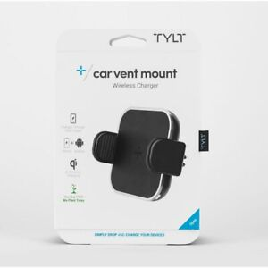 TYLT Wireless Charger Car Mount, Adjustable Car Mount Air Vent Holder, Qi Charge