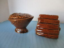 VINTAGE, SALT & PEPPER SHAKERS, BUCKET OF COAL & A WOOD PILE, CERAMIC, JAPAN