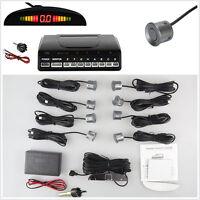 8 Grey Parking Sensor Car Reverse Safety Front Rear LED Radar Sound Alarm System