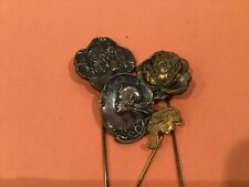 4 ART NOUVEAU hat pins + brooch WOMEN gold pin RARE collection early antique