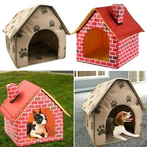 Pet Dog House Bed Foldable Small Footprint Design Cotton Soft for Warm Sleep