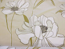 """Parchment"" Shade & White Poppy Floral, Printed Taffeta Curtain Fabric"