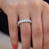 5.50 Ct Emerald Cut Diamond Eternity Wedding Band Ring 14k White Gold Over