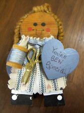 Wooden Girl You're Sew Special Statue Thread Scissors Blue Pink Dress Painted